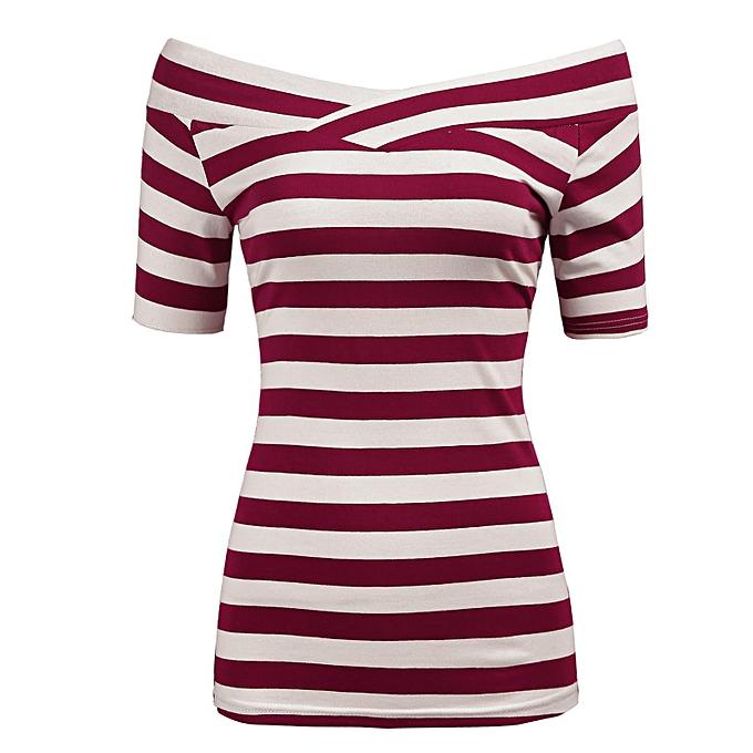 Sunshine femmes Off Shoulder Short Sleeve Striped Slim Fit Casual Blouse Top à prix pas cher