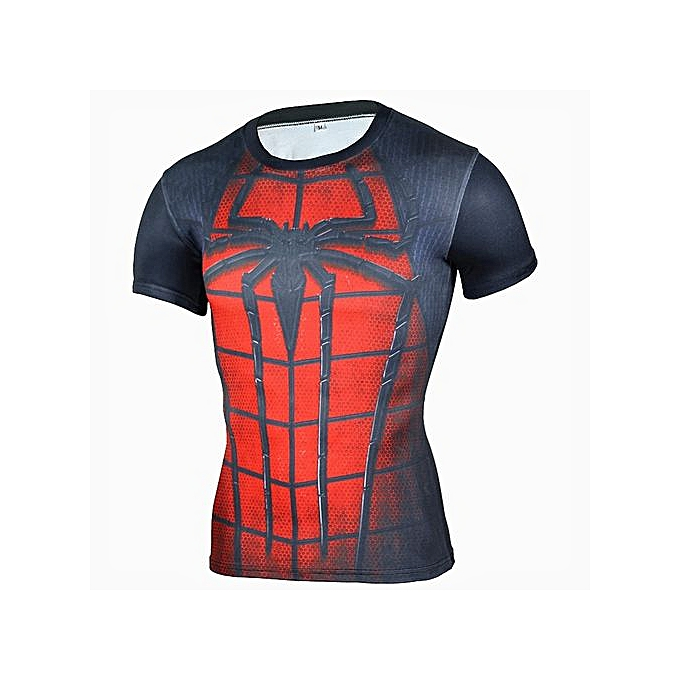 Other Hommes& 039;s Fast Drying Fitness hauts rouge Spiderhomme T Shirt -rouge Spiderhomme à prix pas cher