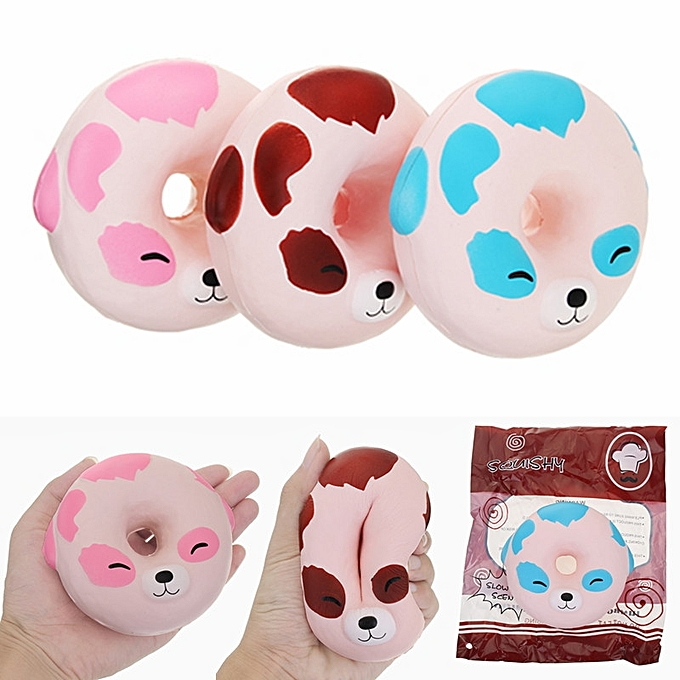 UNIVERSAL YunXin Squishy Puppy Dog Donut 10cm Scented Soft SFaible Rising With Packaging Collection Gift Toy-bleu à prix pas cher