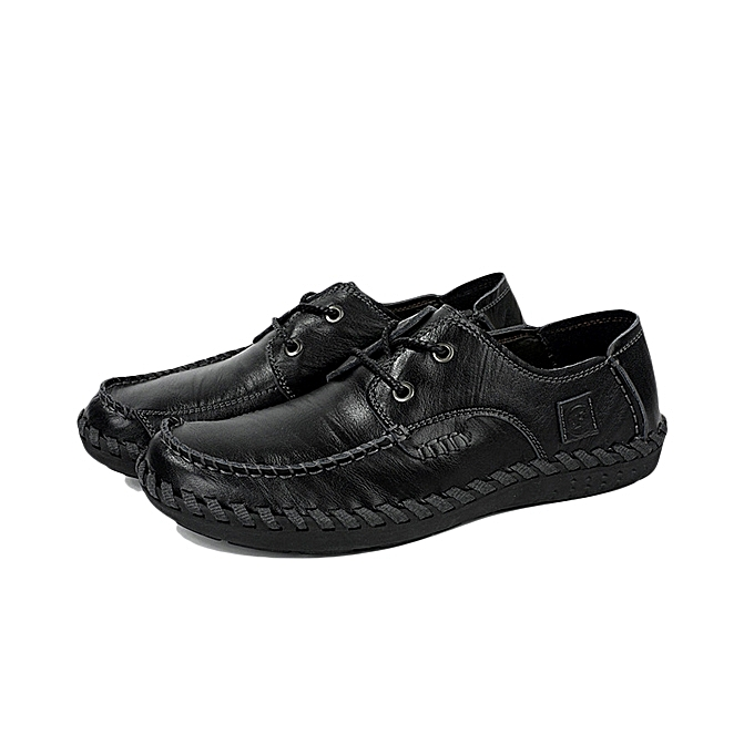 Fashion Men Casual Leather Outdoor Comfortable Flat Lace Up Round Toe Oxfords chaussures à prix pas cher