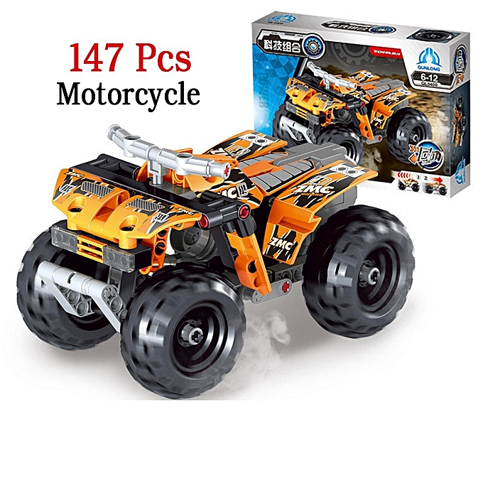 UNIVERSAL Vehicle Motorcycle Police Racing Car Model Building Block DIY Built Toy Set Suit 147pcs Motocross à prix pas cher