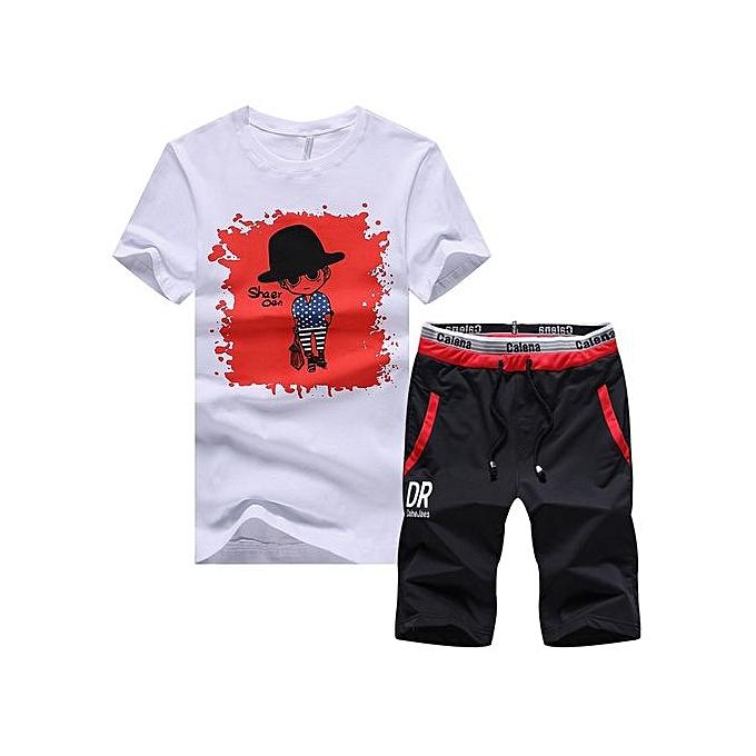 Other Taille m-4XL  Cartoon Printed  T Shirt Two Piece Sports Suit-rouge à prix pas cher
