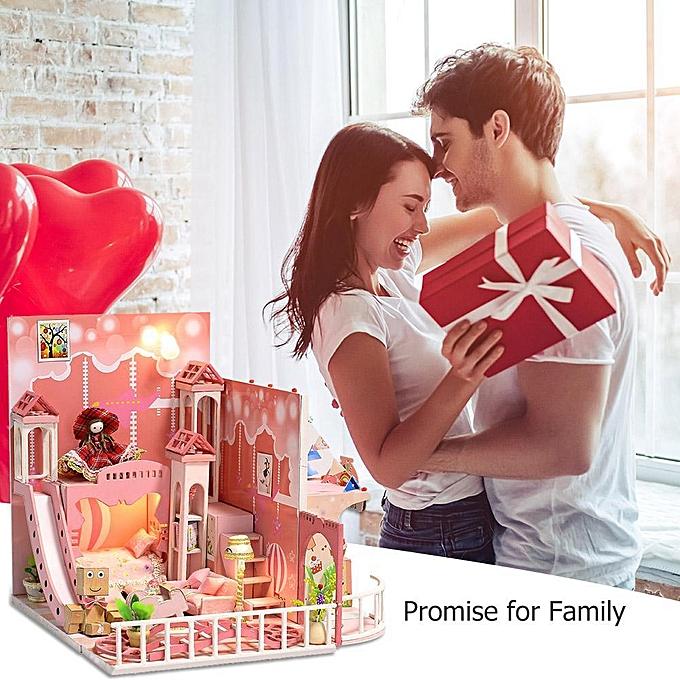 Autre Réunion amour rêve enfance miniature maison de poupée bricolage avec meubles en bois maison jouets à prix pas cher