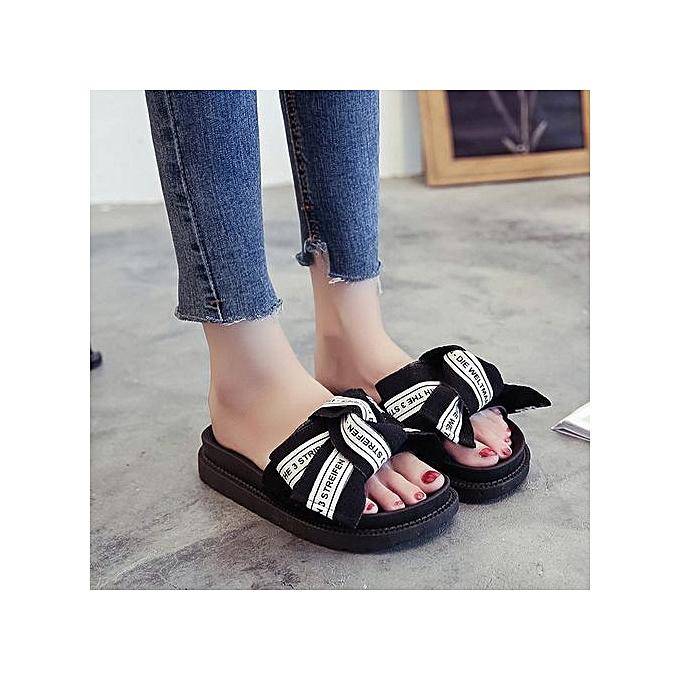 mode Xiuxingzi_Wohommes Flips Flops Sandals été chaussures Wedges Bowknot Sandals Slips à prix pas cher