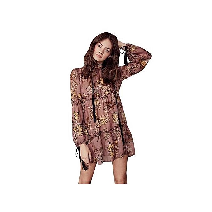 Fashion Long Sleeve High Waist Retro Beach Dress - Coffee à prix pas cher