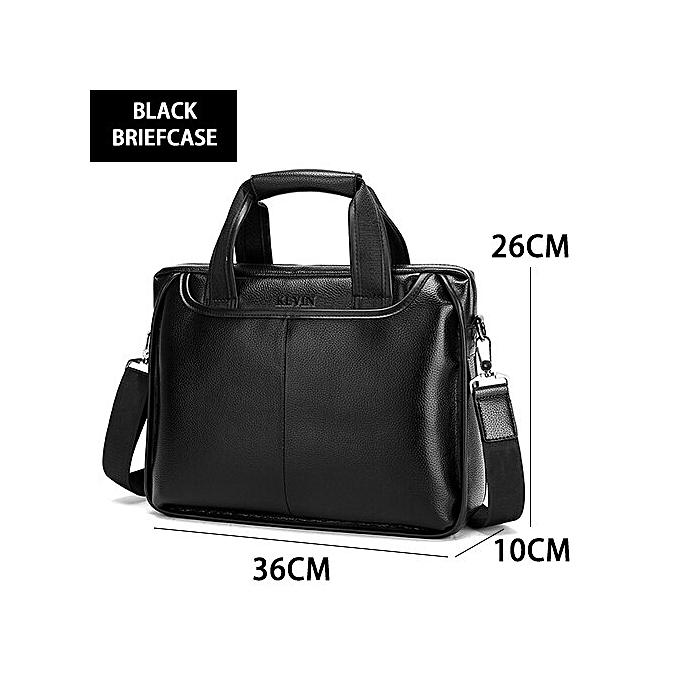 Other 2018 New Fashion Pu male commercial briefcase   Leather vintage hommes messenger bag casual Large Taille Business bag(noir) à prix pas cher