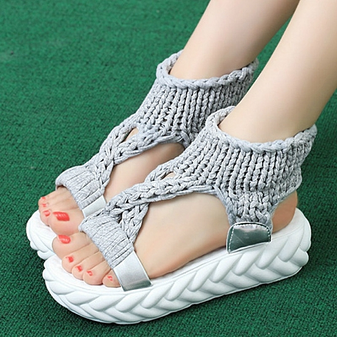Other New Stylish Summer Fashion Leisure Knitting Wool Woman's Sandals Thick Sole-gris à prix pas cher