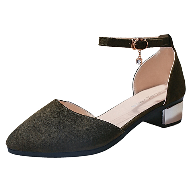 Fashion femmes Casual Solid Pointed Toe Med Heels Square Heels chaussures Sandals à prix pas cher