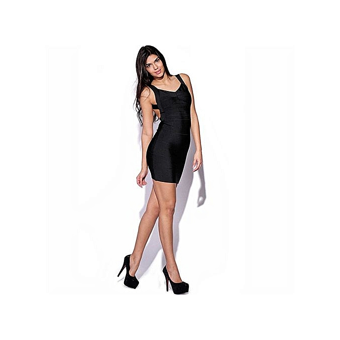 Fashion Summer Sexy Wohommes noir Cut Out Zipper Bodycon Short Dress Round Neck Sleeveless Sheath Mini Dress-noir à prix pas cher