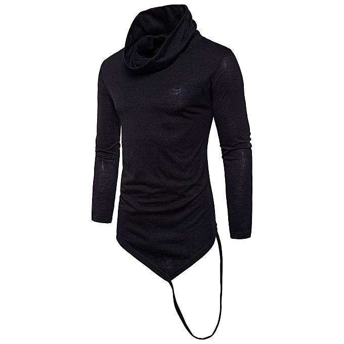 mode mode Hommes manche longue Slim Fit TShirt Hommes Cotton T-Shirt Décontracté T Shirts BK L -noir à prix pas cher