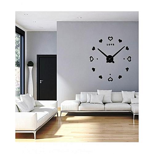 Commandez Generique Grande Horloge Murale Design 3d Cœur Noir A