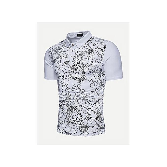 SHEIN Men Floral Print Polo Shirt à prix pas cher