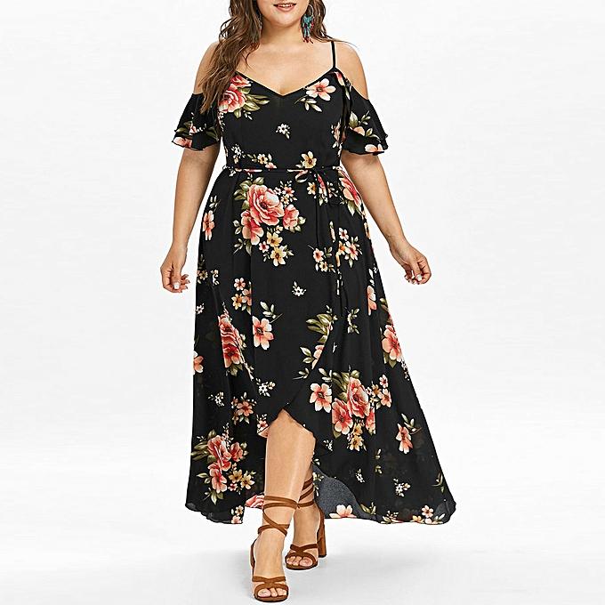 Fashion schoolcool Plus Taille femmes Casual Short Sleeve Cold Shoulder Boho Flower Print Long Dress à prix pas cher