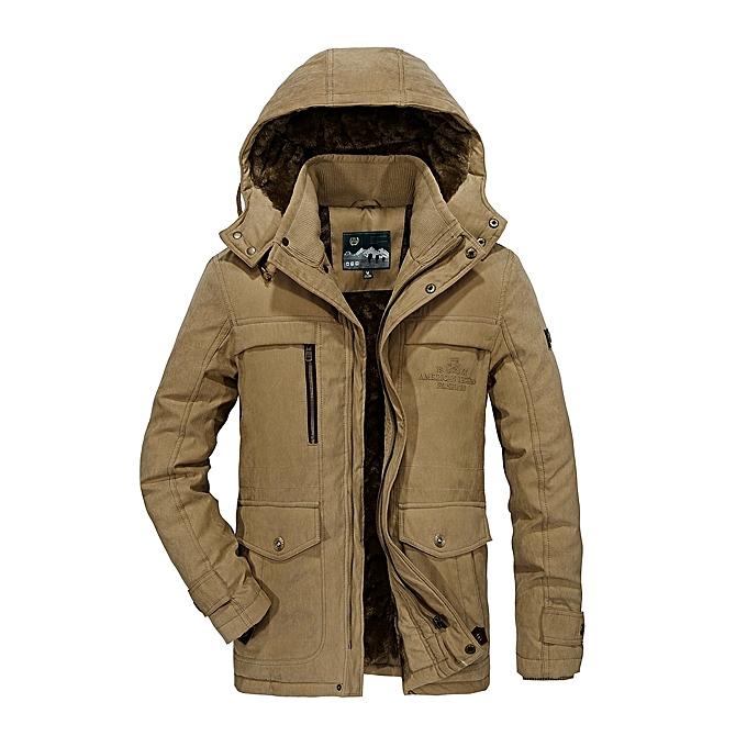 Fashion Mens Big Taille Fleece Thick Warm Hooded Detachable Outdoor Jacket Winter Work Coat à prix pas cher