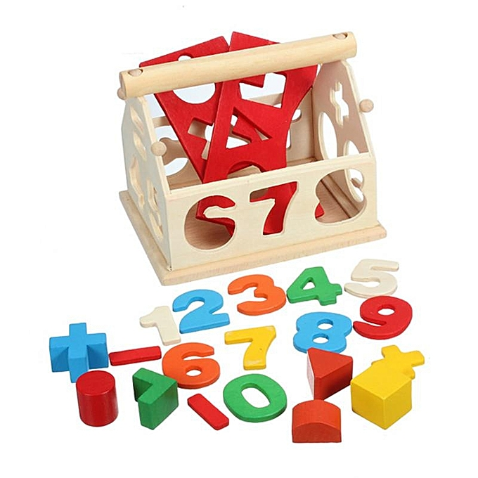 UNIVERSAL nouveau Enfant boisen Digital Number House Building Toy Educational Intellectual Blocks à prix pas cher
