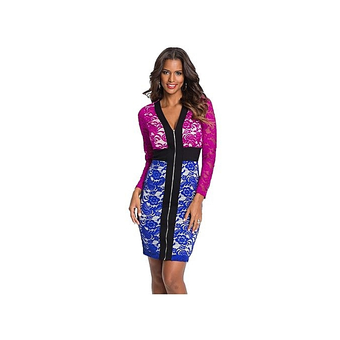 Fashion femmes Sexy Deep V-Neck Patchwork Lace Long Sleeve Zipper Open Lining Fitted Dress Elegant Bodycon Office Work Robes à prix pas cher