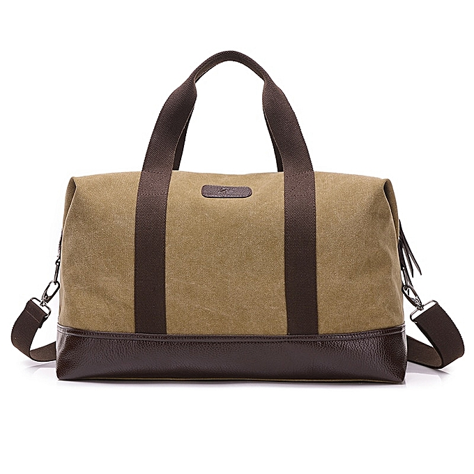 Other 2018 Hot Sale Travel Bags Kvky Casual Vintage Messenger Bag Canvas Solid Uni Large Capacity Tote Cross-body Clic Handbag(Khaki) à prix pas cher