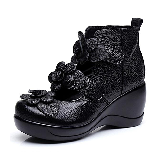 Fashion SOCOFY femmes Genuine Leather Flower Retro Hook Loop Platporm chaussures à prix pas cher