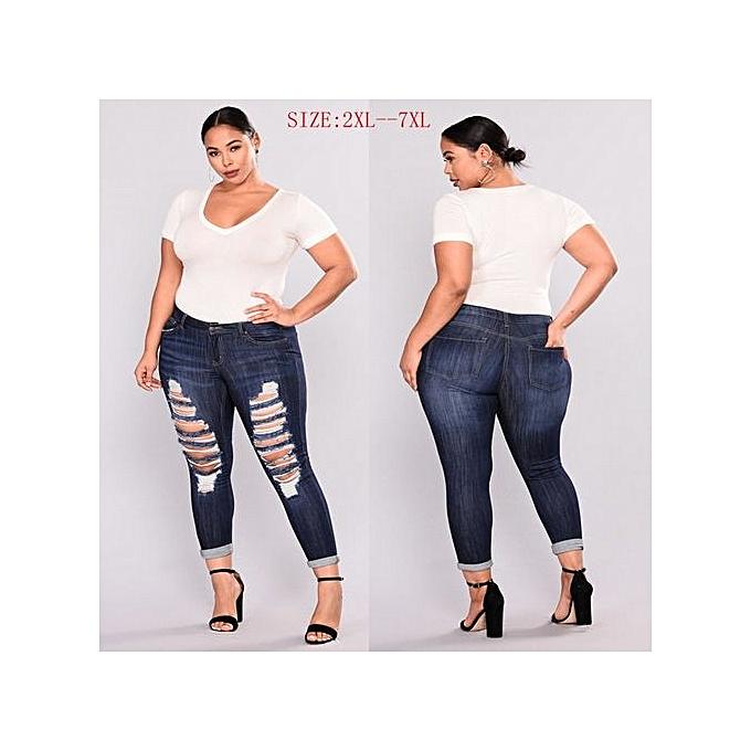 OEM New Large Taille hole fashion high elastic high waist jeans female causal skinny pencil jean pants jeans femmes trousers-dark bleu à prix pas cher