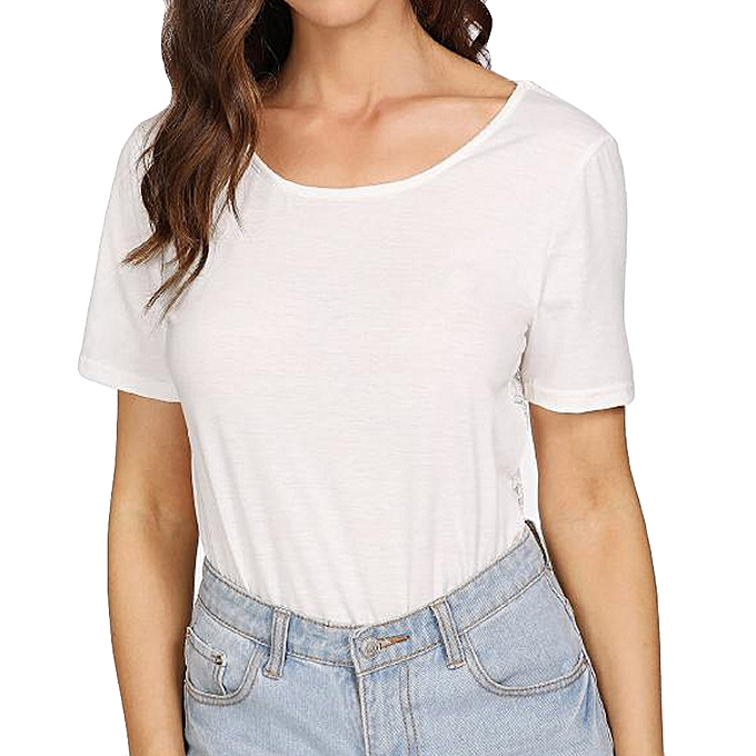 Generic Generic femmes Short Sleeve Fashion Blouse Fashion Lace Splicing T-Shirt Blouse Tops  A1 à prix pas cher
