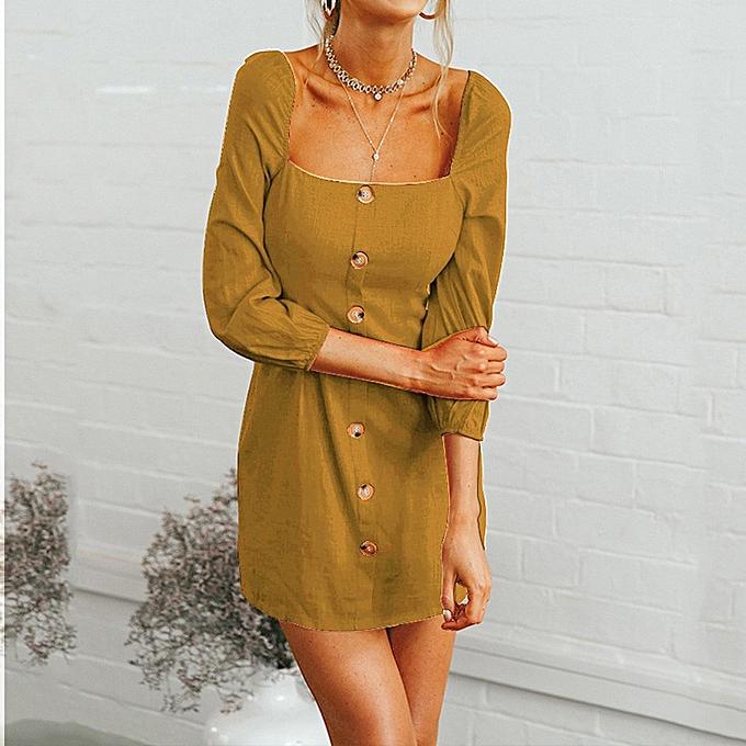 Generic Xiuxingzi femmes Camisole Long Sleeve Square Neck Mini Dress Button Fashion Dress à prix pas cher