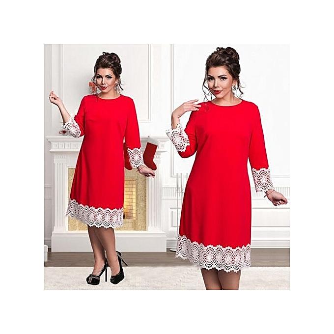 Fashion Plus Taille 6XL Elegant Party Lace Patchwork femmes Dress 2017 Summer Large Taille Loose Dress-rouge à prix pas cher