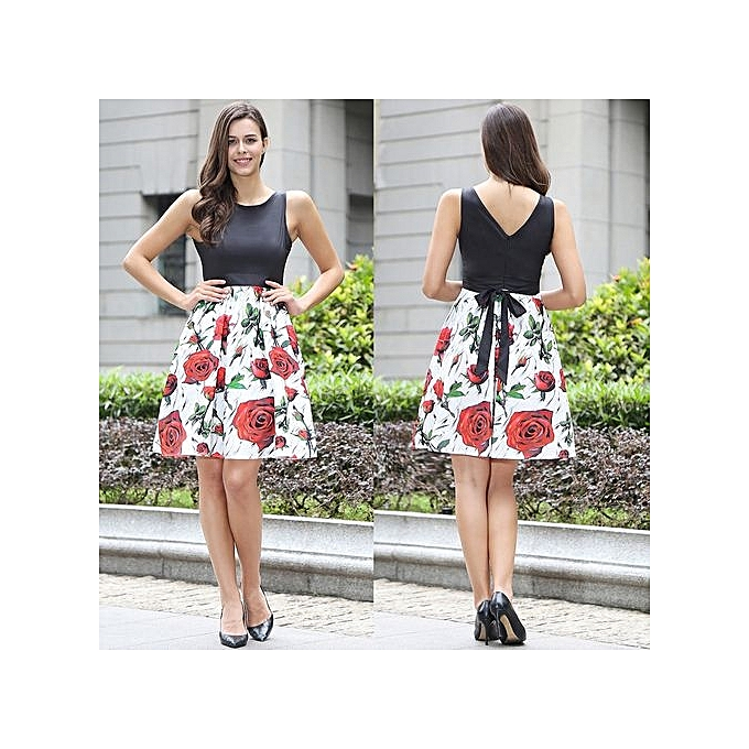 Fashion New Arrival Floral Vintage Mask Dress Sleeveless Tank Sexy Retro Sashes 50s 60s Dress Ball Gown Pretty Vestitos-blanc01 à prix pas cher