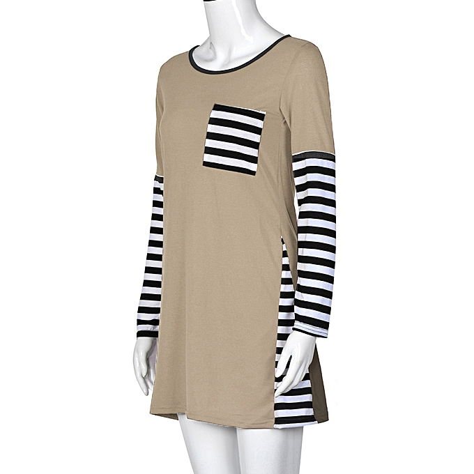 Fashion Meibaol store femmes Striped Printed Long Sleeve T-Shirt Tops Casual Blouse Shirt KH M à prix pas cher