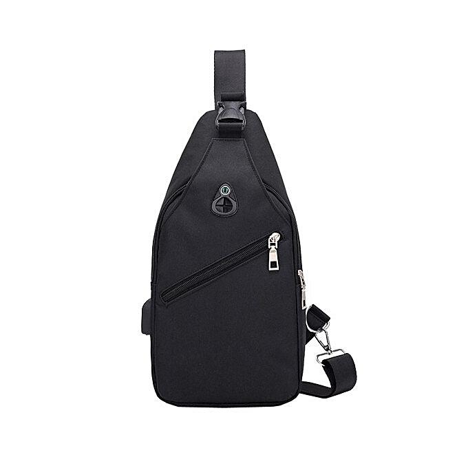 Other GGHB@Men Fashion Outdoor Pure Couleur USB Canvas Messenger Shoulder Bag Chest Bag(noir) à prix pas cher