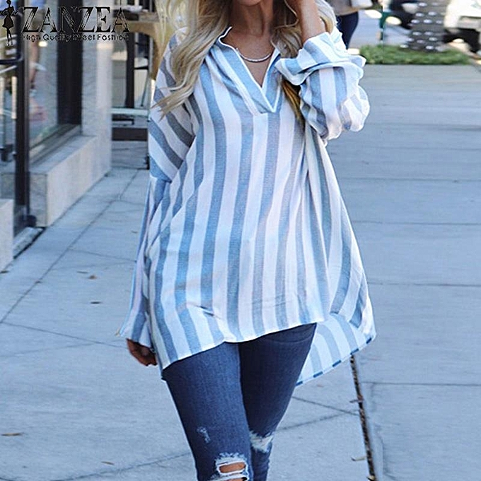 Fashion ZANZEA femmes Loose V Neck Long Sleeve Casual Club Tops Irregular T Shirt Blouse à prix pas cher