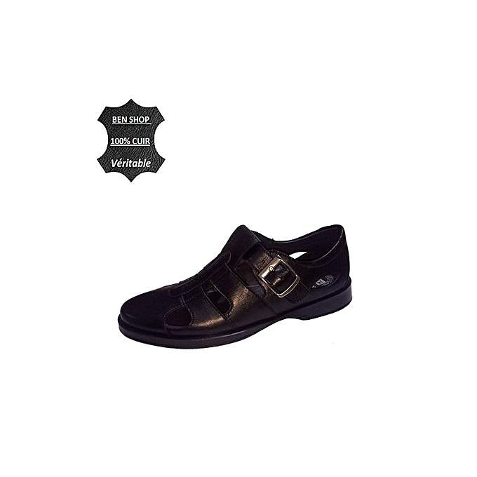 Super confort Sandale H524 Confort MédicaL 100% Cuir Véritable - Noir à prix pas cher