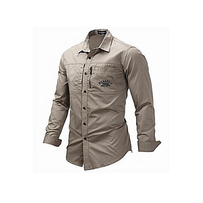 Fashion Men's Long-sleeved Lapel Zipper Shirt Cotton Military Outdoor Casual Shirt à prix pas cher