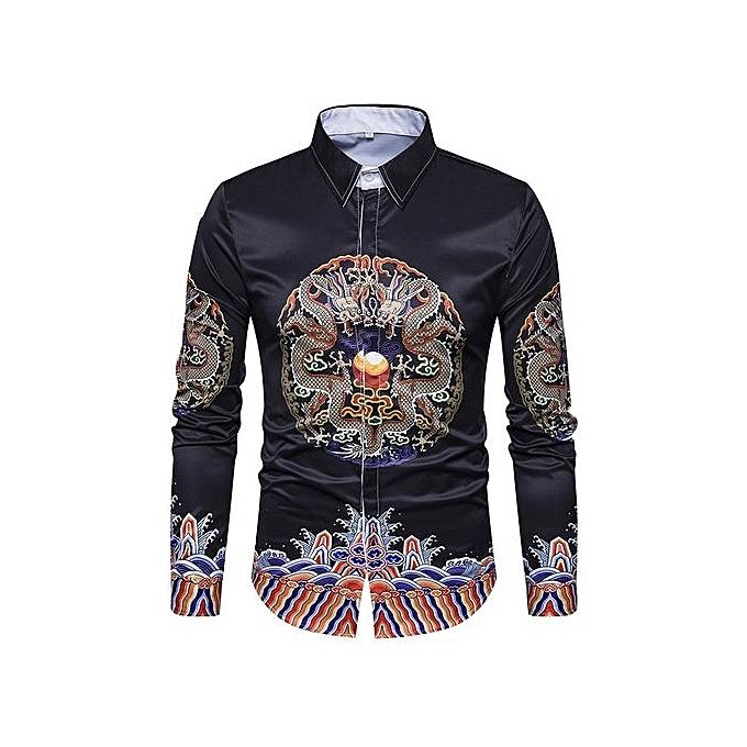 Generic Autumn And Winter New Men's National Wind Robe Printing Pattern Lapel Cardigan Retro Long-sleeved Shirt Lapel à prix pas cher
