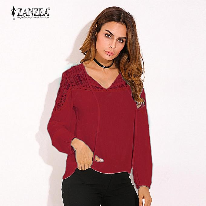 mode ZANZEA Autumn Shirts  femmes Décontracté Loose Patchwork Lace Crochet chemisiers V Neck manche longue Tee hauts S-5XL (Wine rouge) à prix pas cher