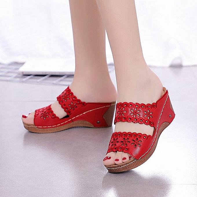 Fashion femmes Casual Wedge Heel Flowers Hollow Peep Toe Sandals à prix pas cher    Jumia Maroc