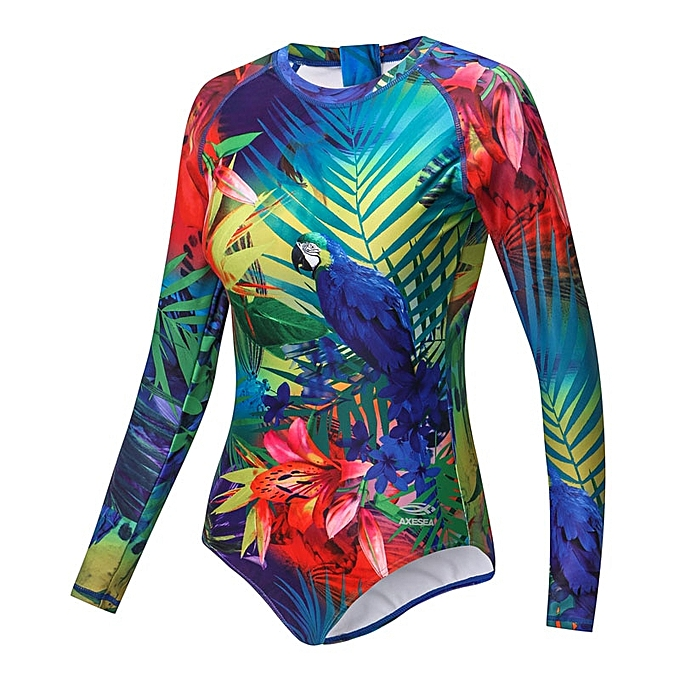Autre New Swimsuit femmes Rashguard Long Sleeve One Piece Swimwear UPF50+ Print Floral Flamingo Back Zipper Surf Rash Guard( Parrouge) à prix pas cher