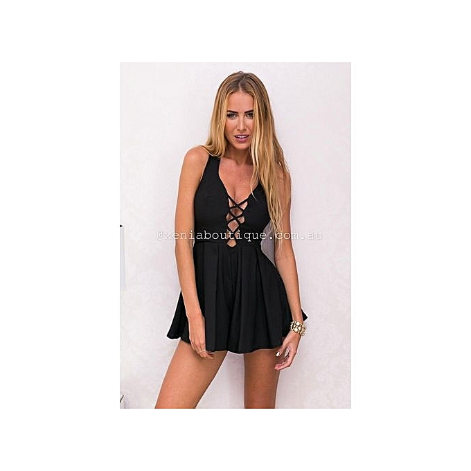 Fashion YOINS femmes noir V Neck Cut Out Sleeveless Pleated Waistline Zip Playsuit With Open Back XXS-XL à prix pas cher