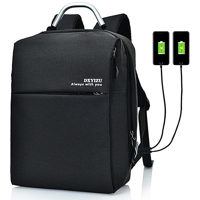 UNIVERSAL Multi-Functional grand capacité Unisex voyage Affaires sac à dos Laptop Computer sac with External USB Charging Interface (noir) à prix pas cher