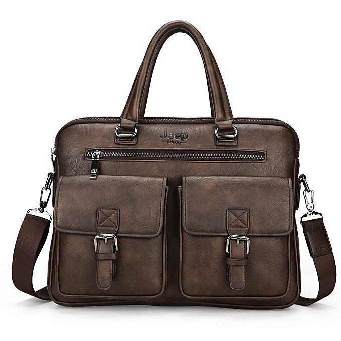 Other MYOSAZEE 2018 nouveau Hommes Split cuir Handsac Zipper Hommes Affaires Polyester Two Silt Pocket Soft Handle 14 Inches Briefcases sacs(coffee) à prix pas cher