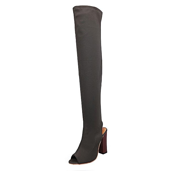 Générique Sedectres WoHommes  Stretch Faux Slim Peep Toe High High Toe Boots Over The Knee Boots High Heels Shoes-Army Green à prix pas cher  | Jumia Maroc 1c2600