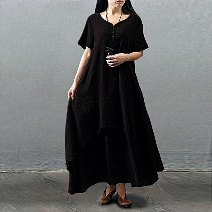 mode quanxinhshang femmes Décontracté Daily Plus Taille manche courte Soild Splice Lace Long Robe à prix pas cher