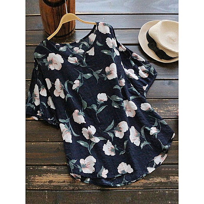 UNIVERSAL ZANZEA femmes Plus Taille Floral Printed Casual V Neck Top Shirt Blouse Tee à prix pas cher