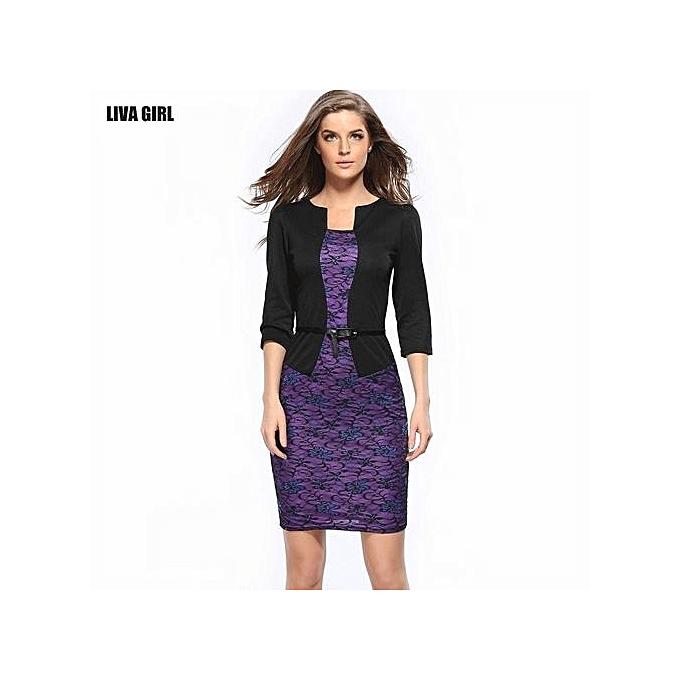 Generic Faux Twinset Belted vêtehommests de travail Sheath Bodycon Robe (violet noir) à prix pas cher