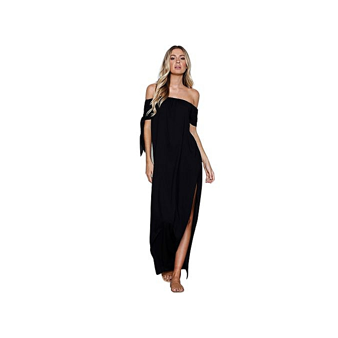 Fashion Fashion Accessories Fashion Wohommes Summer Pure Slash Neck Bow Evening Dress Floor-Length Maxi Dress à prix pas cher