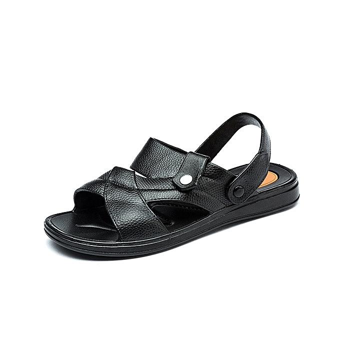 OEM nouveau Pour des hommes sandals de plein air plage slide hommes sandals Décontracté chaussures soft  sandals for homme-noir à prix pas cher