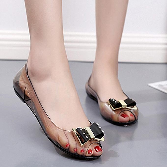 Fashion jiahsyc store femmes Summer Rhinestone Transparent Crystal Sandals Flat Jelly Fish Mouth chaussures à prix pas cher