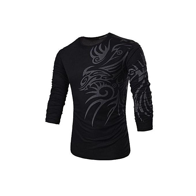 Generic Men's Long Sleeve Base Shirt With Dragon Pattern (noir) à prix pas cher