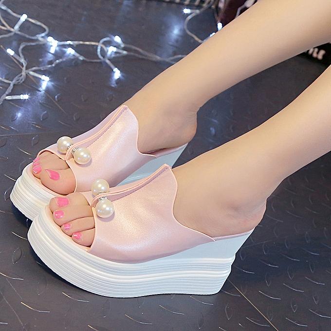 Fashion US femmes High Open Toe Slippers Wedge Platform Sandals Casual Slip on chaussures à prix pas cher    Jumia Maroc