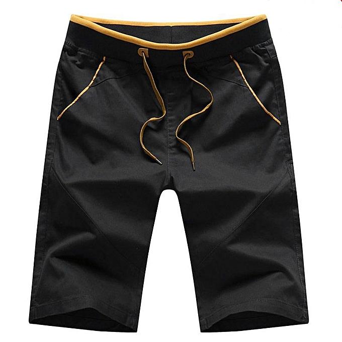 Other New Stylish Summer Men's Loose Cropped Trousers Students Cotton Beach Pants-noir à prix pas cher