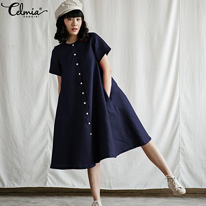 Fashion femmes Cotton Long Shirt Short Sleeve Baggy Swing Holiday Kaftan Top à prix pas cher
